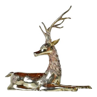 Hollywood Regency Monumental 1970's Decorative Seated Brass Deer by Sarreid Ltd For Sale