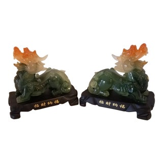 Chinese Jadeite Foo Dogs on Four Footed Bases - A Pair For Sale