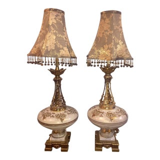 Hollywood Regency Lamps with Shades - a Pair For Sale