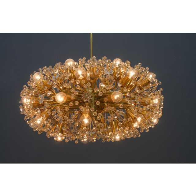 Mid-Century Modern Huge Brass and Glass Chandelier, 1960s For Sale - Image 3 of 7