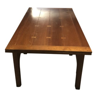 1990s Vintage Stickley Draw Top Dining Light Cherry Room Table For Sale
