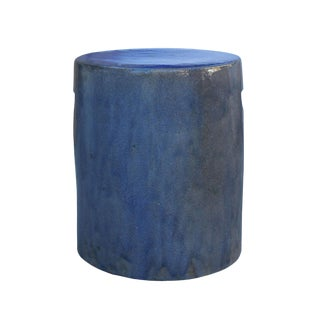 Chinese Ceramic Clay Purple Blue Glaze Round Flat Column Garden Stool For Sale