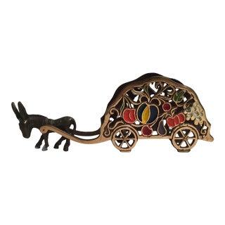 Bronze & Brass Donkey & Fruit Cart Letter Holder