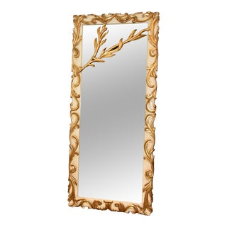 Louis XVI Rococo Style Wood Gold Gilt Floor Mirror For Sale