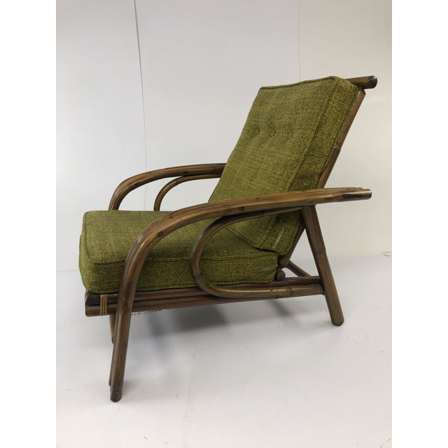VINTAGE BAMBOO LOUNGE CHAIR. Beautiful Modernist bentwood curves. Piece is in excellent condition. Original green...