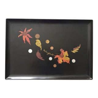 Mid-Century Couroc Windfall Falling Leaves Coin Cocktail Tray For Sale