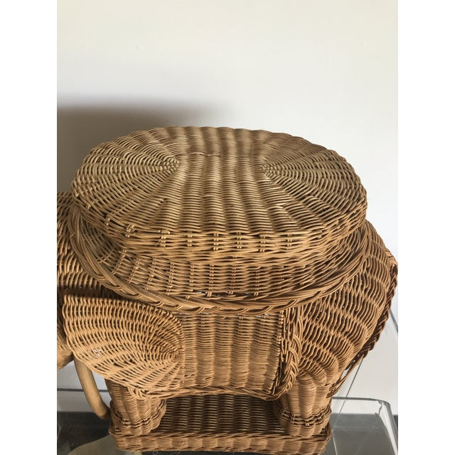 Boho Chic 1980s Boho Chic Woven Rattan Elephant Side Table For Sale - Image 3 of 6