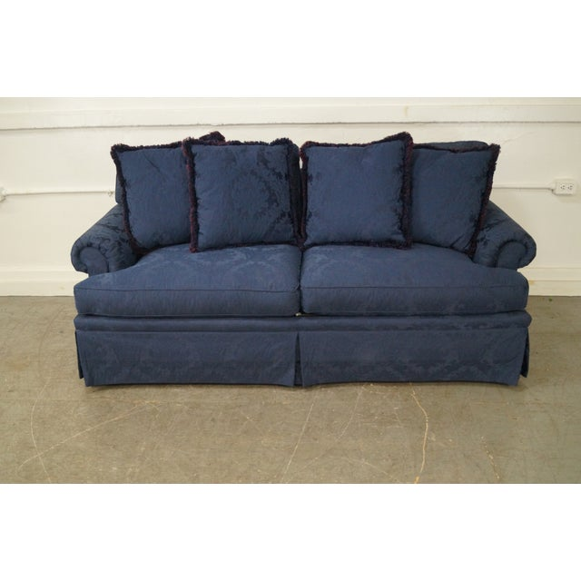 Blue Damask Traditional Upholstered Councill Sofa - Image 3 of 10