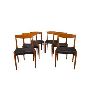Set of Six Teak Danish Modern Dining Chairs by Henning Kjaernulf For Sale
