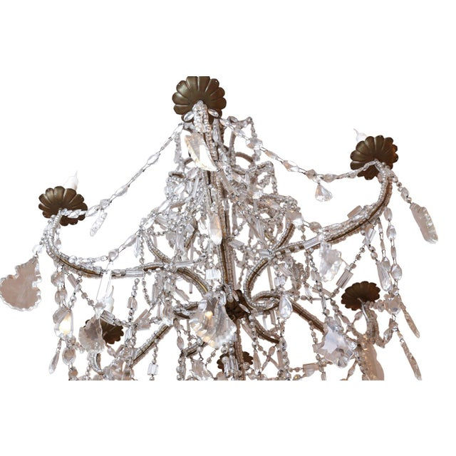 Early 20th Century Italian Crystal Beaded Chandelier For Sale - Image 5 of 6