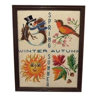 Vintage Framed Seasons Needlepoint Art