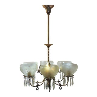 20th Century Victorian Brass Gas Chandelier Converted to Electric 6 Light Fixture For Sale