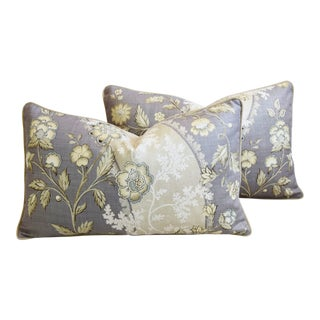 "Floral Linen & Velvet Feather/Down Pillows 26"" X 16"" - Pair For Sale"