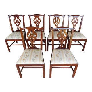Henkel Harris Chippendale Style Mahogany Side Chairs Set of 6 For Sale