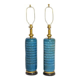Italian Pottery Ceramics Blue Green Lamps - a Pair For Sale