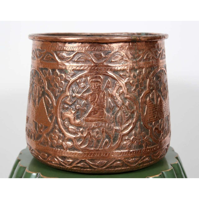 Copper Hand Etched Egyptian Pot Jardiniere For Sale In Los Angeles - Image 6 of 6