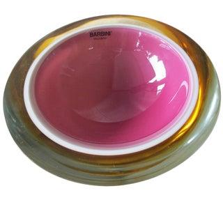 Alfredo Barbini Pink & Mustard Murano Glass Bowl For Sale