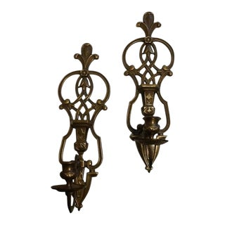 Vintage Mid-Century Brass Wall-Mounted Candle Holders - A Pair For Sale