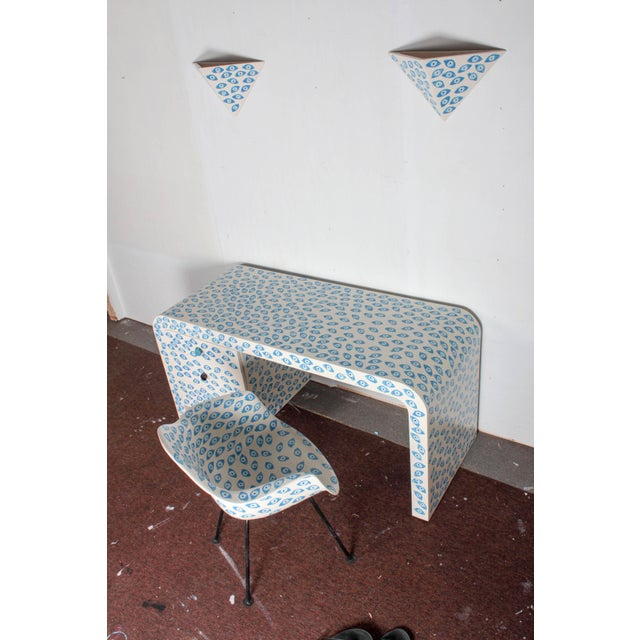 Abstract 1960s Mid-Century Modern Karl Springer Waterfall Desk With Eames Zenith Chair and Sconces Evil Eye Set - 4 Pieces For Sale - Image 3 of 12