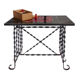 Mid-Century Wrought Iron Tile Top Chess Table & Chess Pieces For Sale