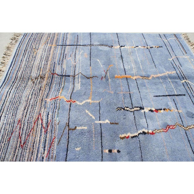 "Moroccan Light Blue Abstract Rug- 6'5"" x 9' - Image 5 of 7"