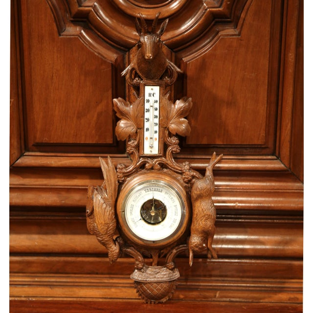 19th Century French Carved Walnut Black Forest Barometer With Deer and Guns For Sale - Image 10 of 10
