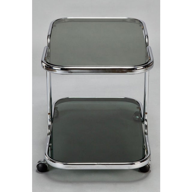 Mid-Century Italian Black Glass Chrome Bar Cart, Serving Trolley For Sale - Image 4 of 6