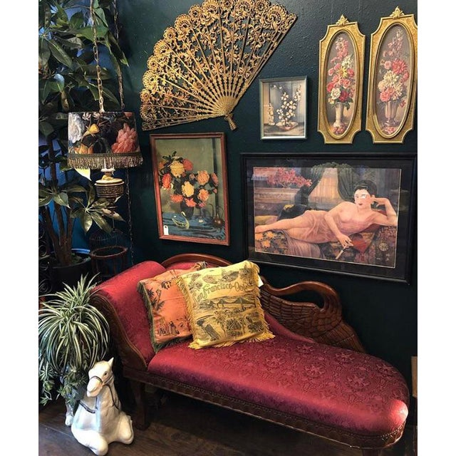 1940s Antique Raspberry Chaise For Sale - Image 12 of 13
