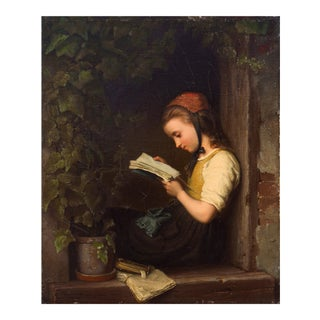 'A Quiet Moment' by Adolph Gruner, 1849; Munich School, German Figural Oil, Bremen, Young Girl Reading For Sale