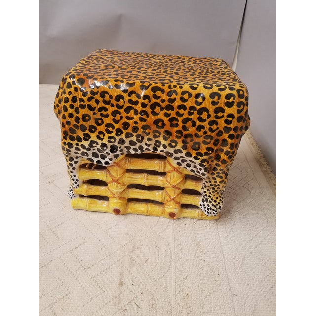 Chic Hollywood Regency Leopard & Bamboo Terra Cotta Garden Stool Italy For Sale In Philadelphia - Image 6 of 6