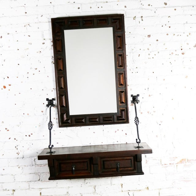 Amazing Spanish Revival Style Wall Hanging Console Table And Matching Mirror With Hand Wrought Metal Hardware