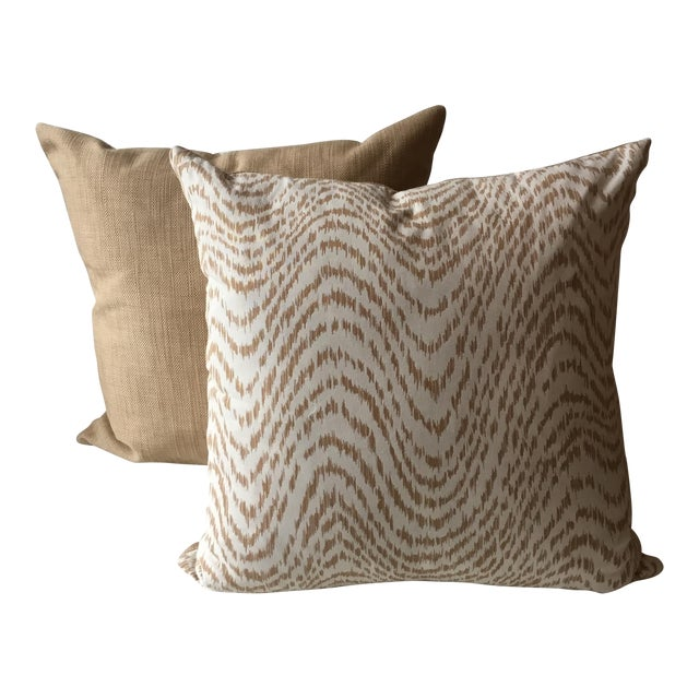 Neutral Tiger Stripe Pillow For Sale
