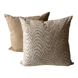 Neutral Tiger Stripe Pillows - A Pair For Sale