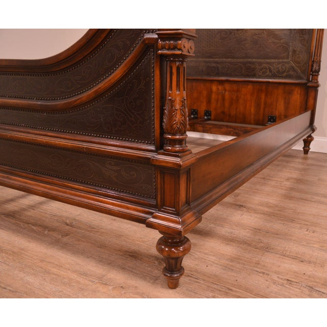 Metal Theodore Alexander Armoury Collection Engraved Brass Paneled King Bed For Sale - Image 7 of 12