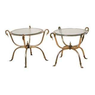 Pair of Brass and Glass Swan Side Tables Circa 1960