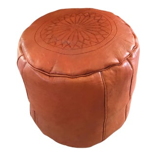 Moroccan Leather Orange Pouf For Sale