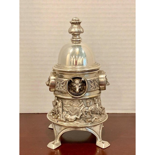 Antique English Silver Plated Equestrian Inkwell, With Dogs & Foxes For Sale - Image 4 of 13