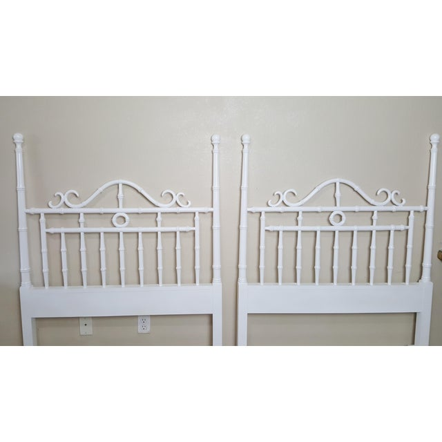 Vintage Kensington by Drexel Twin Faux Bamboo Headboards - a Pair For Sale - Image 6 of 8