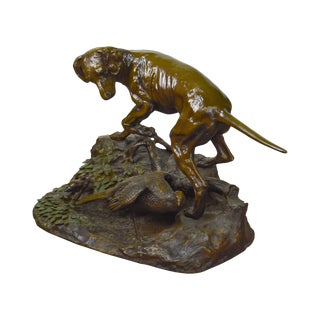 Large Bronze Hunting Dog With Pheasant Statue For Sale