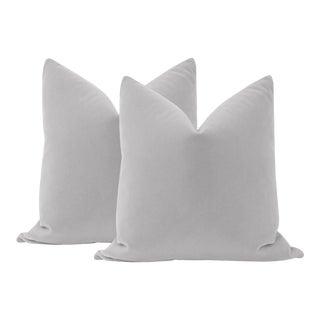 "22"" Dove Grey Mohair Velvet Pillows - a Pair For Sale"