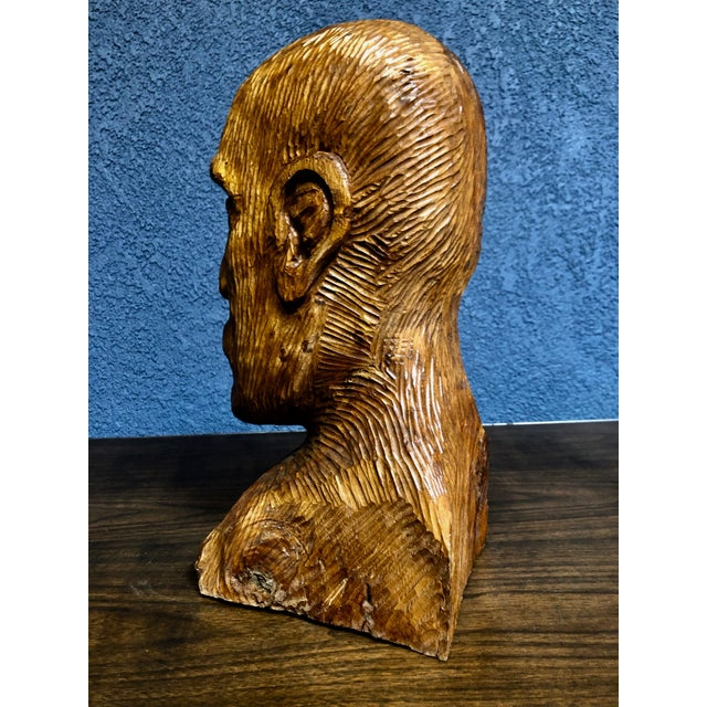 1970s 1970s Vintage Solid Wood Hand-Carved Male Bust Sculpture For Sale - Image 5 of 9