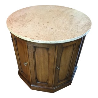 Drexel Stone Top Drum Table