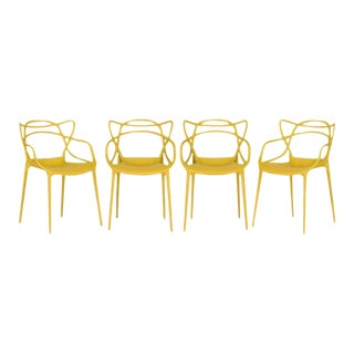 Kartell Mustard Yellow Masters Chairs - Set of 4
