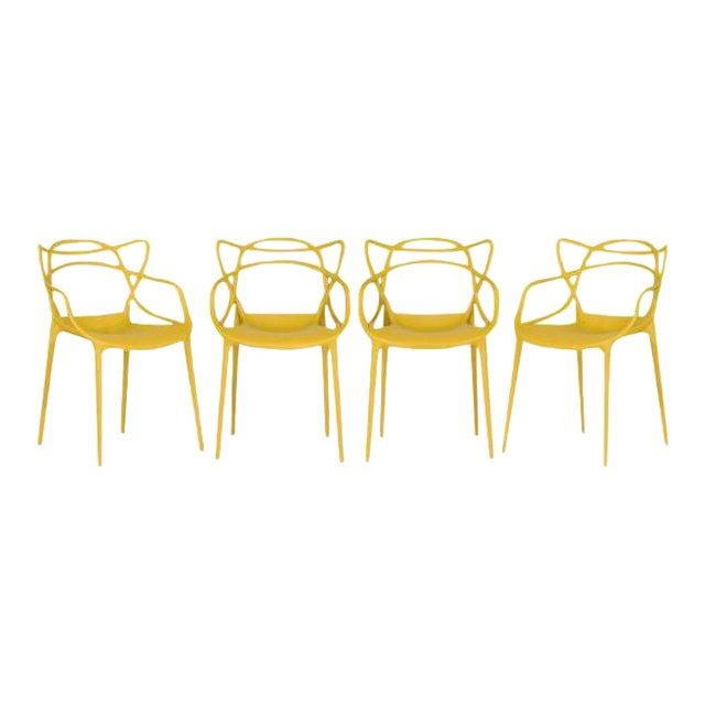 Kartell Mustard Yellow Masters Chairs - Set of 4 For Sale