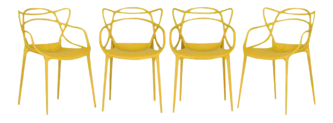 Kartell Mustard Yellow Masters Chairs   Set Of 4