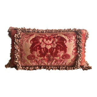 Vintage Velvet Pillow With Silk Tassels and Silk Panel For Sale