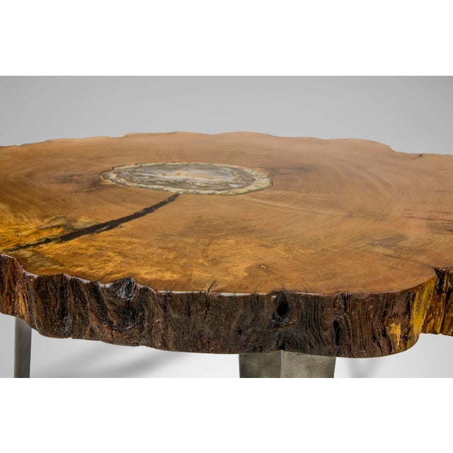 Adirondack Petrified Wood Inlay Sycamore Table For Sale - Image 3 of 8