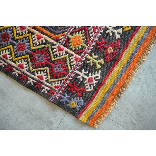 "Textile Antique Turkish Kilim Rug Hand Woven Wool Jajim Braided Area Rug - 6'5"" X 9'10"" For Sale - Image 7 of 9"