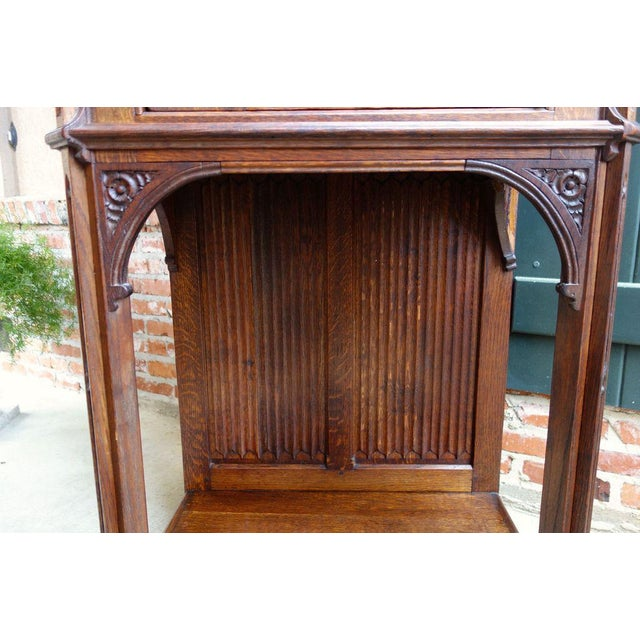 Brown Antique French Carved Oak Gothic Vestment Cabinet For Sale - Image 8 of 11