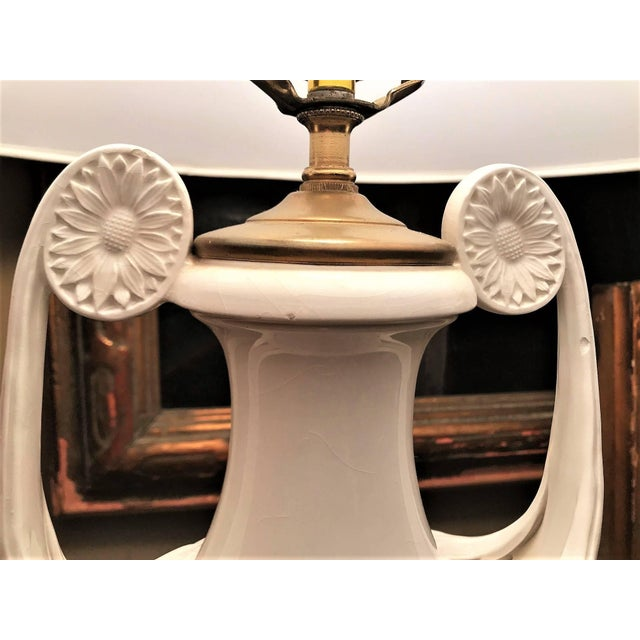 1930s Continental White Faience Urn Table Lamps-a Pair For Sale - Image 9 of 11